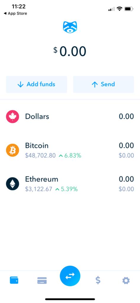 Adding fund on Shakepay