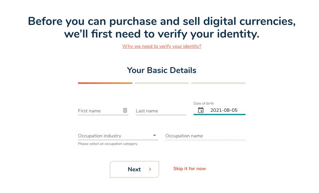 Identity verification process at Bitbuy